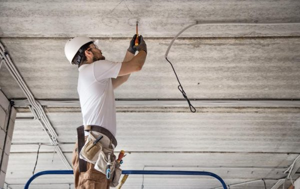 Commercial Electrician Performing an Installation